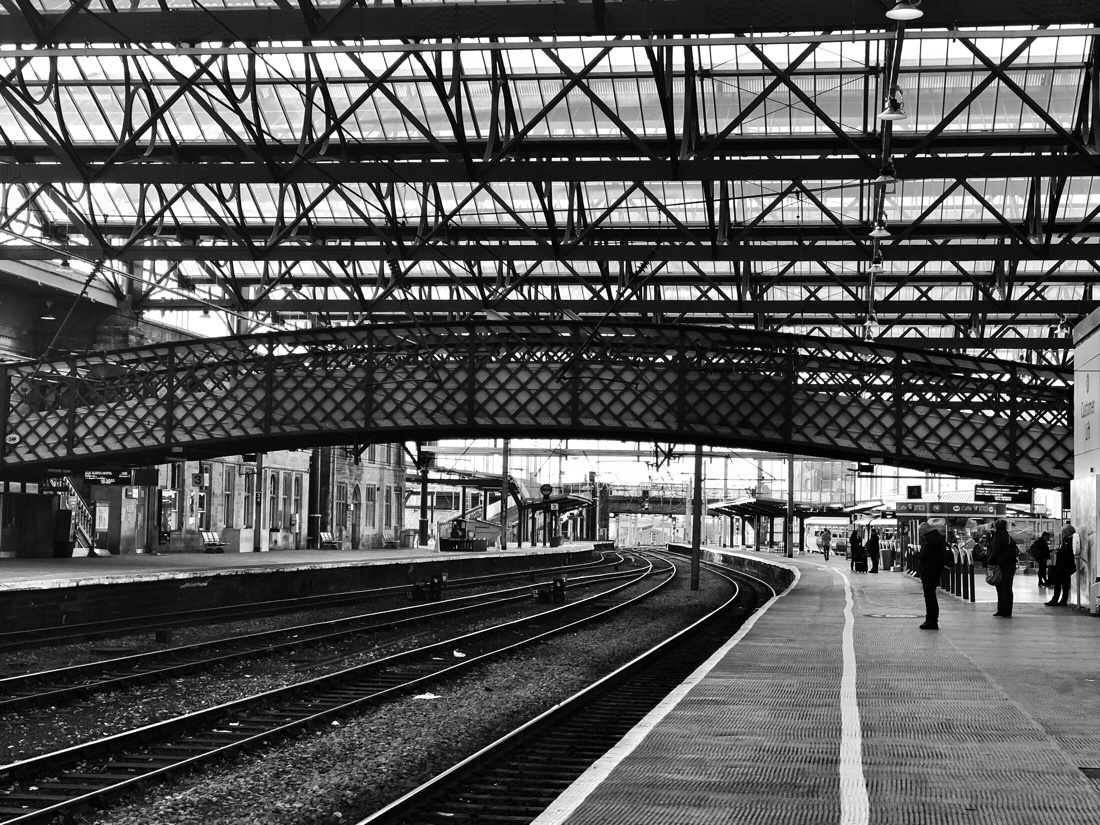 Waiting for the train at Carlisle Station on the West Coast Mainline in Carlisle, Cumbria