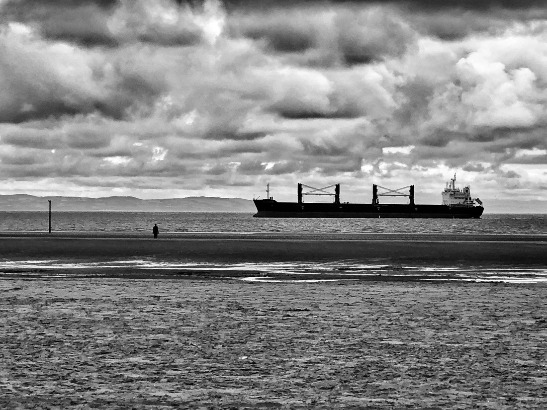 An afternoon walk at Crosby Beach on the Sefton Coast in England