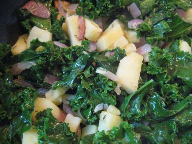 Cooked Kale, Potatoes, and Onion