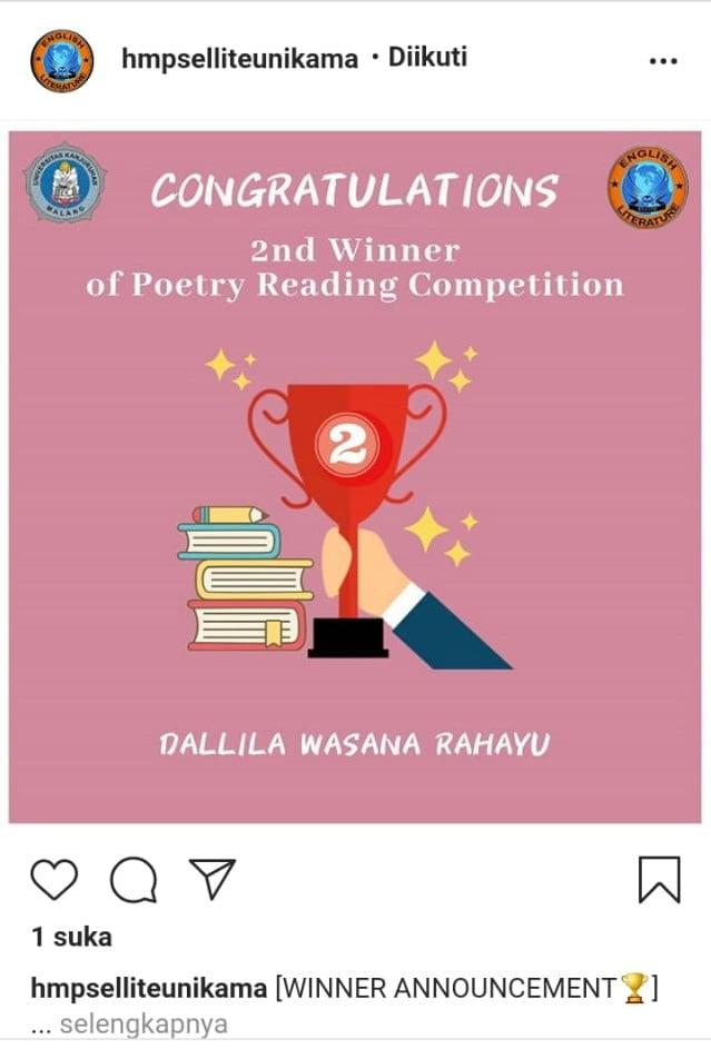 ECC Tetap Juara II Poetry Reading Competition meski Pandemi 1