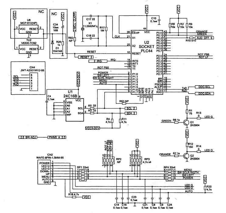 ЖКИ монитор Acer AL532 устройство ремонт типовые