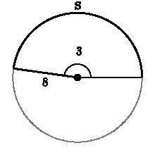 What is the length of arc SSS shown below? The angle in