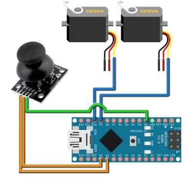 Подключение игрового контроллера и сервоприводов к arduino nano