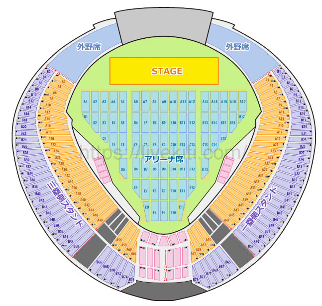 西武ドームの座席表の画像