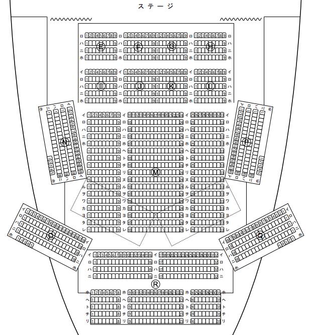 なら100年会館の座席表とキャパは?