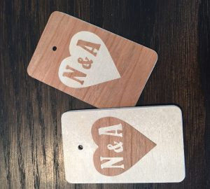Faux inlaid wood tag