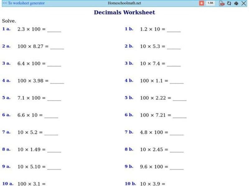 Multiplication Decimals Worksheets Year 6