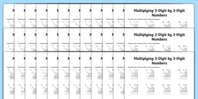 Multiplication Worksheet 3 By 2 Digit