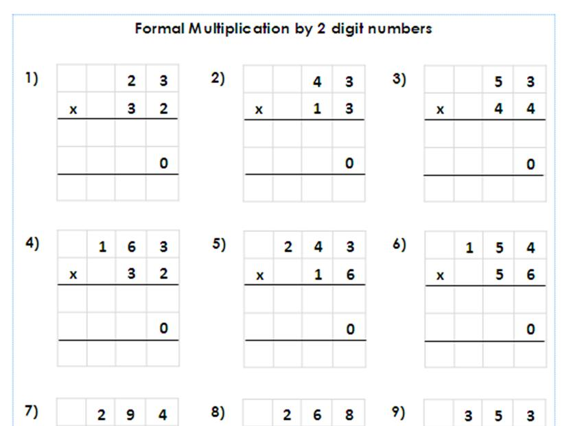 Multiplication Worksheets 4 Digits