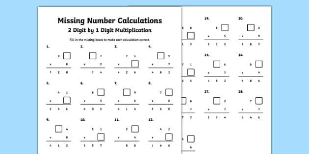 Multiplication Worksheets For Each Number