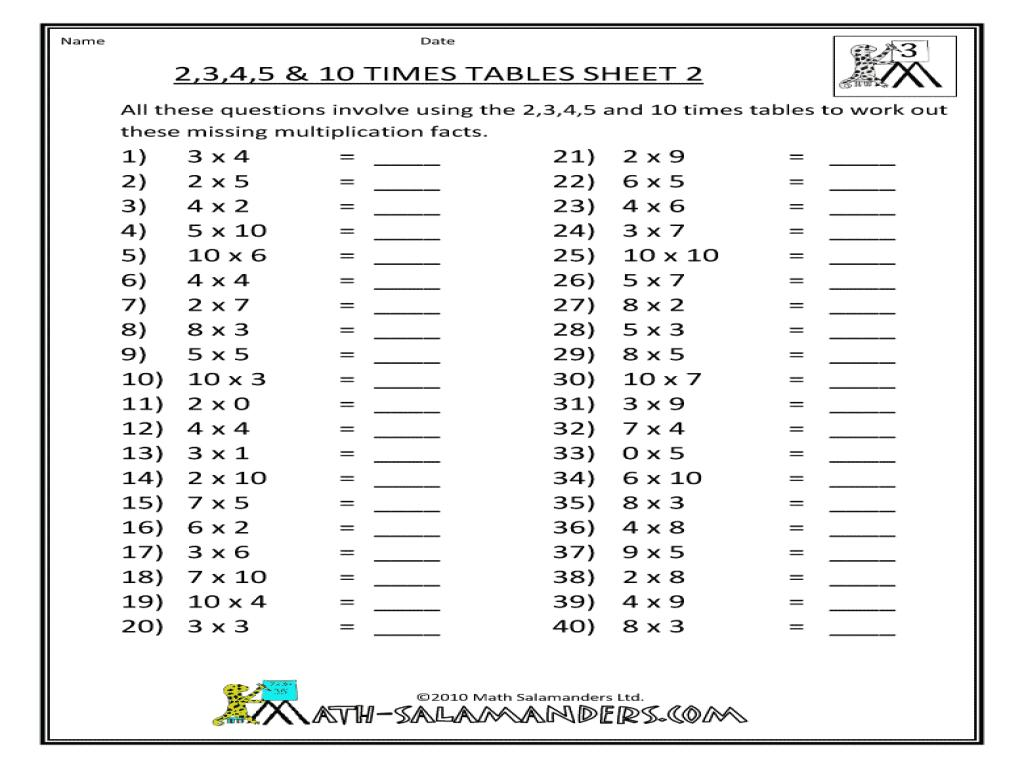 Multiplication Worksheets Class 2 – Smart Kids Ideas [ 768 x 1024 Pixel ]