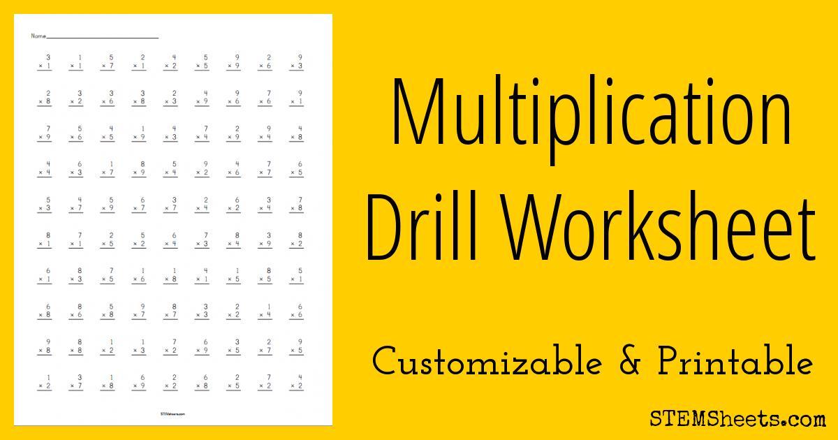 Multiplication Worksheets Math Drills 1