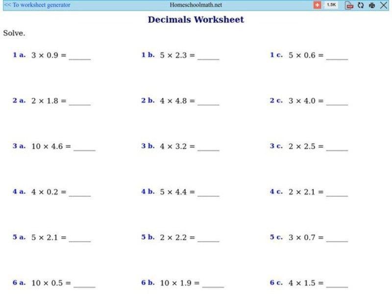 Multiplying Decimals Worksheets Pdf