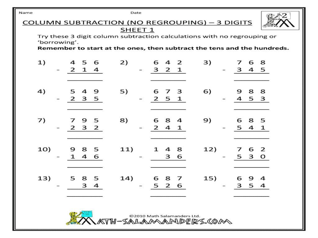 Subtraction Worksheets For Grade 1