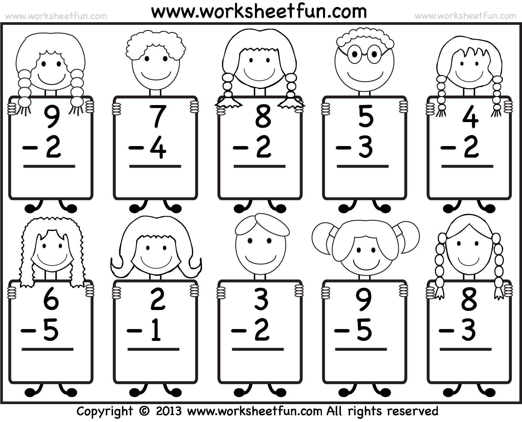 Subtraction Worksheets For Kindergarten