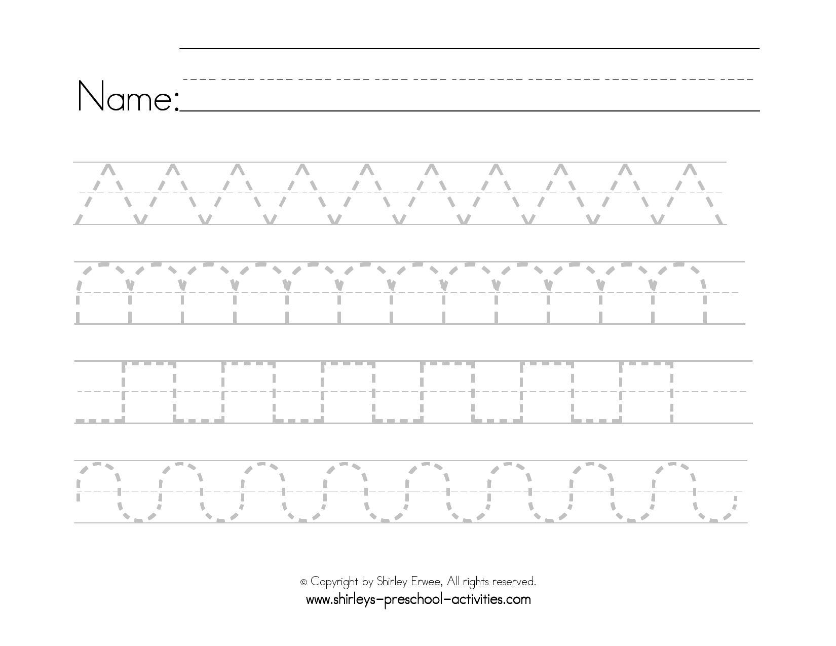 Preschool Worksheets Handwriting 1