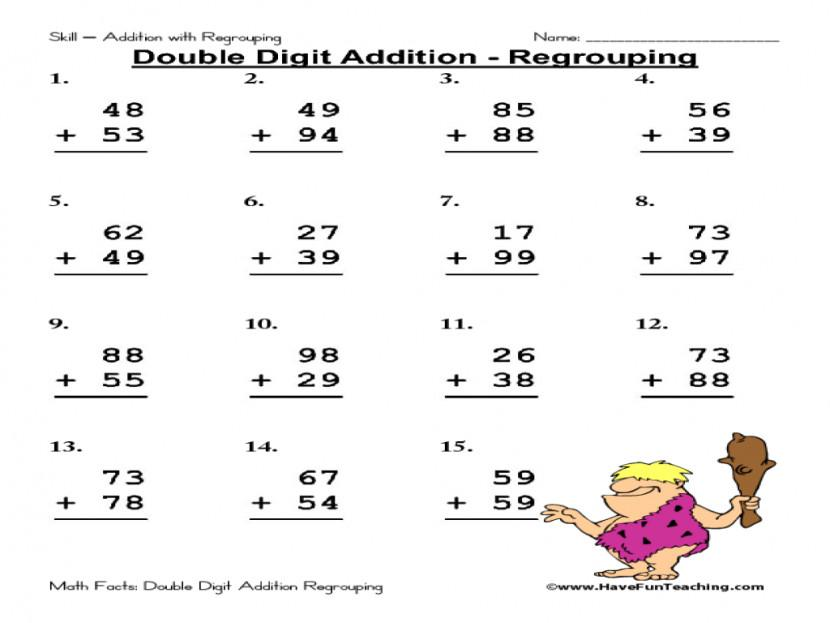 Math Worksheets Addition With Regrouping 1