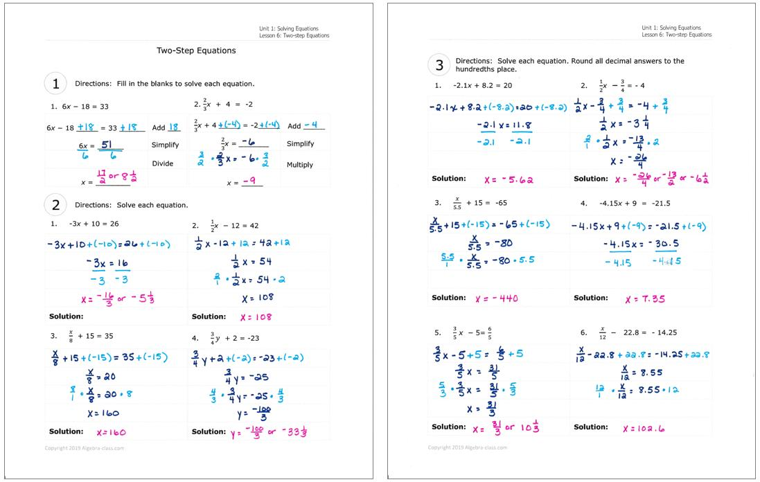 Math Worksheets Algebra Grade 7