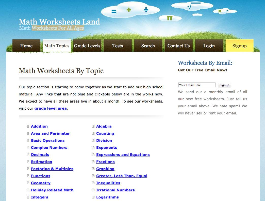 Math Worksheets By Topic 6