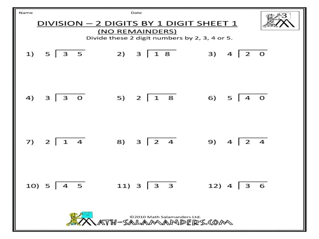 Math Worksheets Division Grade 4