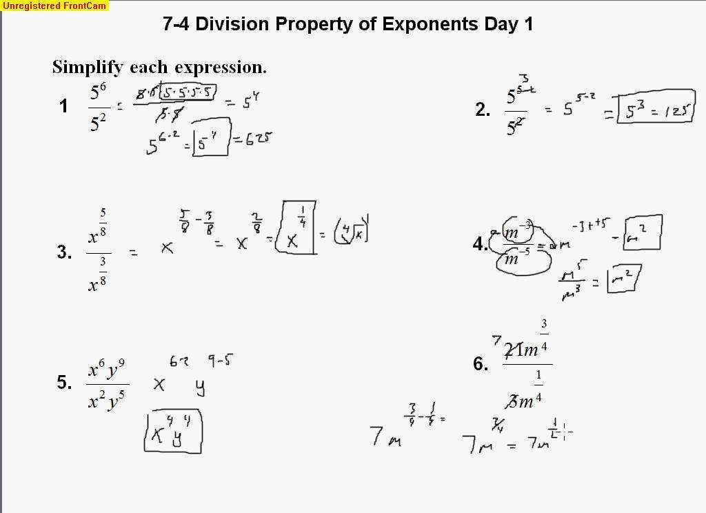 Math Worksheets Exponents 1