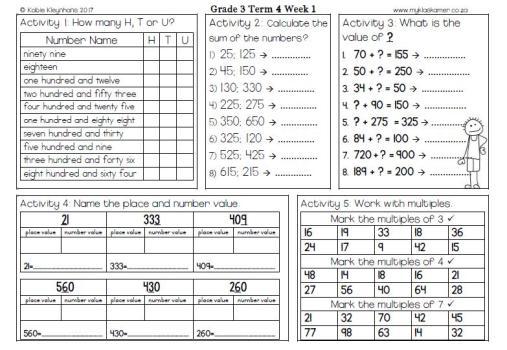 Math Worksheets Grade 4 Place Value