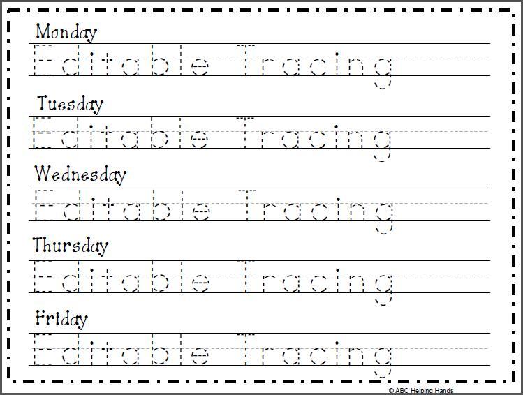 Preschool Custom Name Tracing Worksheets