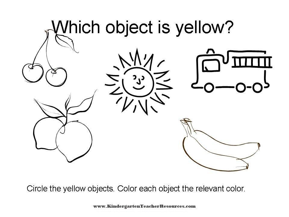 Preschool Worksheets Color Yellow 1