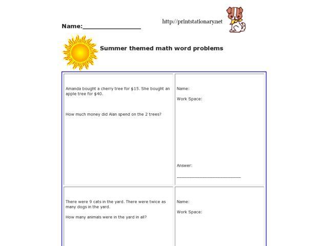 4th Grade Math Word Problems Worksheets With Answers
