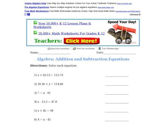 Algebra Addition Subtraction Multiplication Division Worksheets
