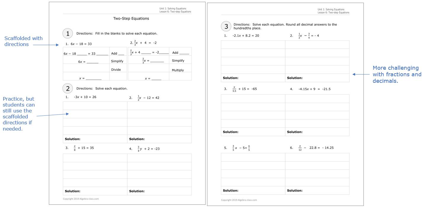 Algebra Worksheets And Answers Printable
