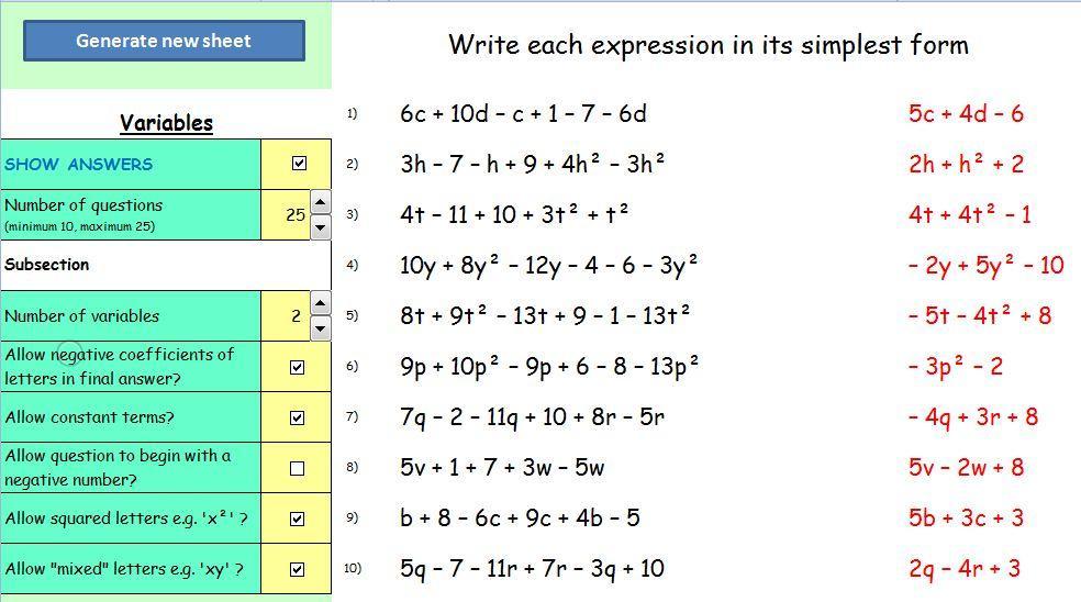 Algebra Worksheets Year 7 1