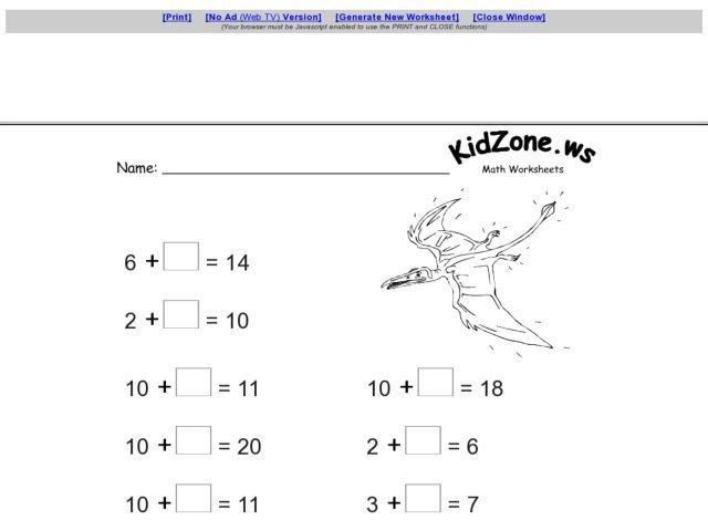 Kidzone.ws Math Worksheets