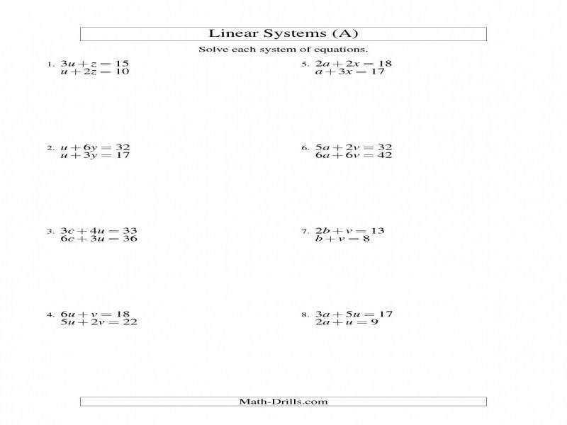 Math Drills Worksheets Linear Equations