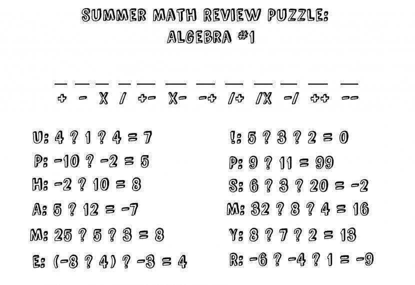Math Worksheets Grade 6 Pre Algebra