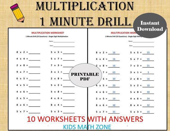 Math Worksheets Multiplication 1