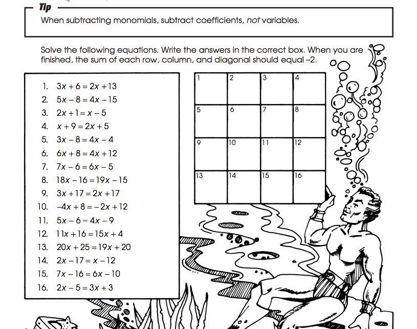 Math Worksheets Pre Algebra 1