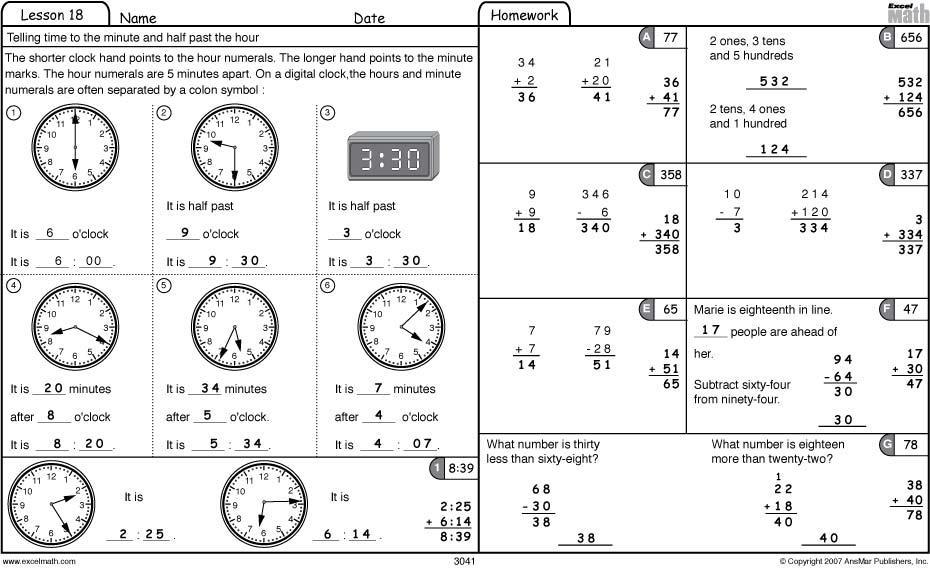 Math Worksheets Time Grade 3