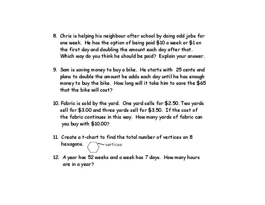 Math Worksheets Word Problems Grade 3