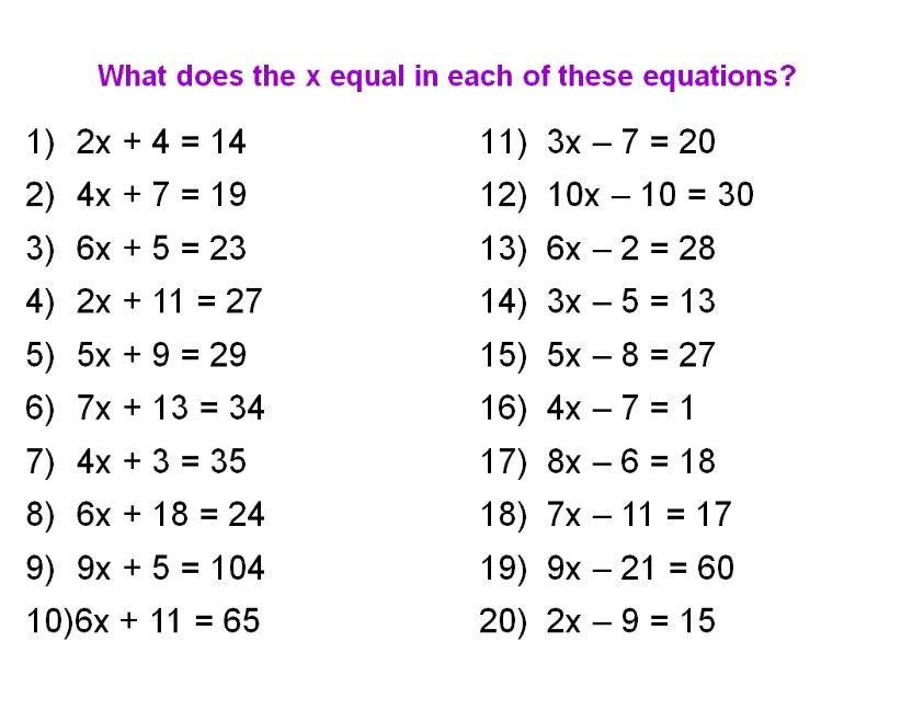 Algebra 1 Worksheet Easy