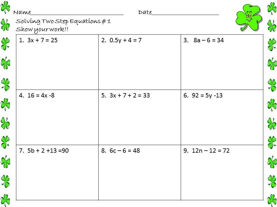 Algebra 1 Worksheet Solving Equations 1 To 2 Steps