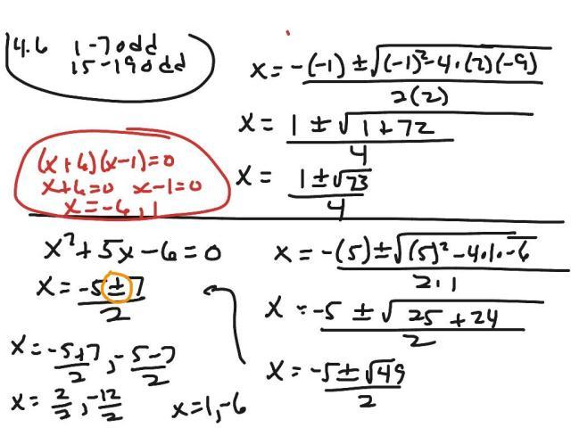Algebra 2 Quadratic Formula Worksheet Answers