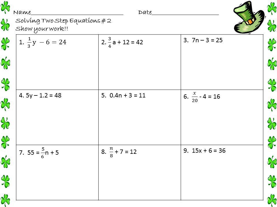 Algebra 2 Variables Worksheets 7
