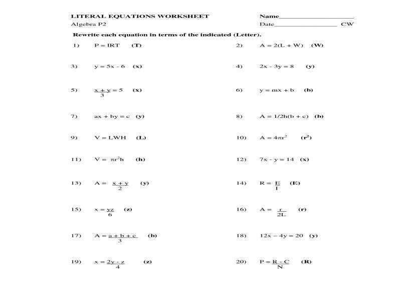 Algebra Equations Worksheets Grade 7