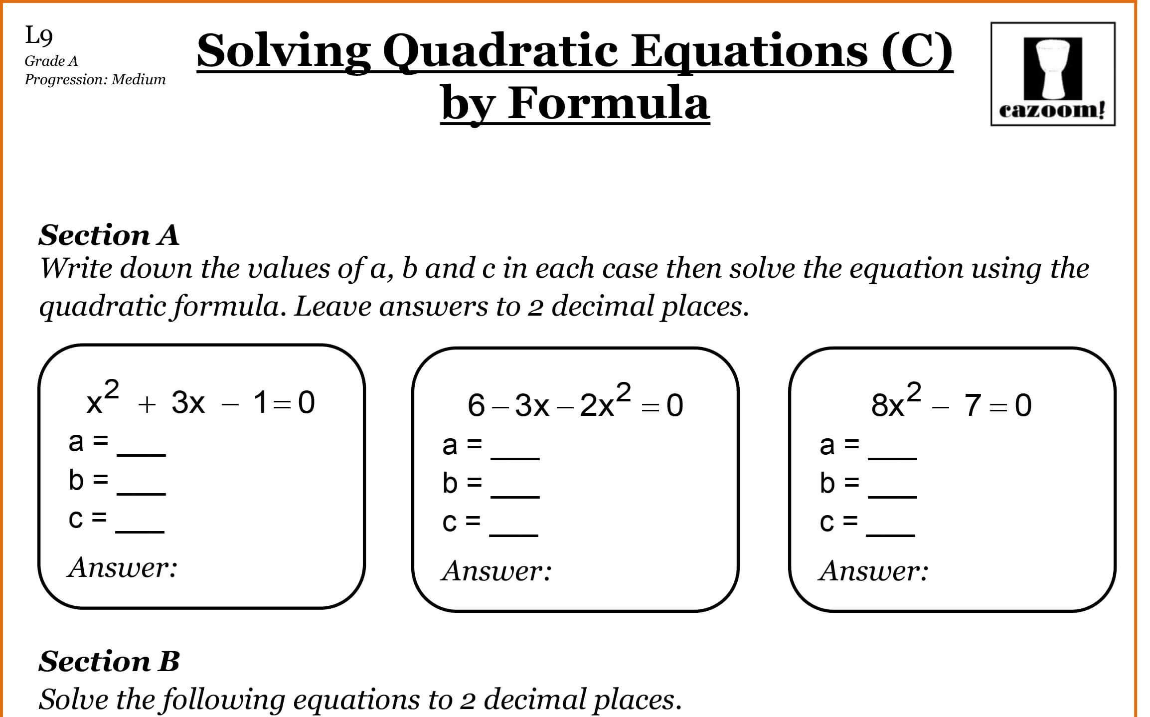 Algebra Math Worksheets Grade 8