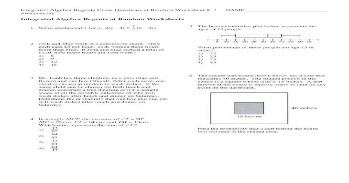 Algebra Regents Worksheets 1