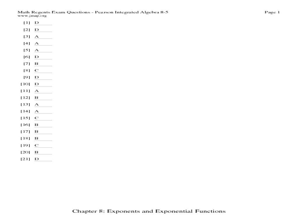 Algebra Regents Worksheets 4