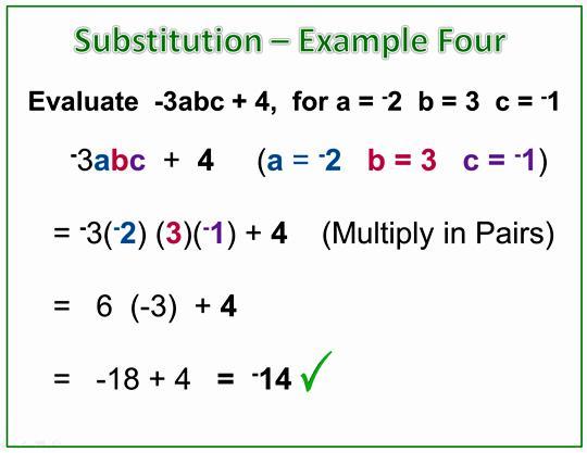 Algebra Substituting Values Worksheets 4