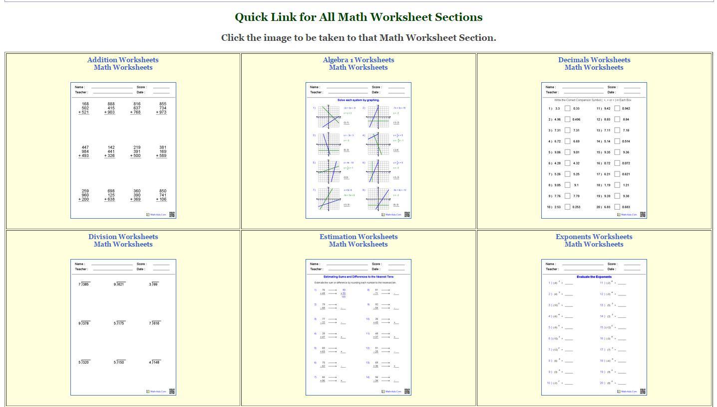 Algebra Worksheets Math Aids 1