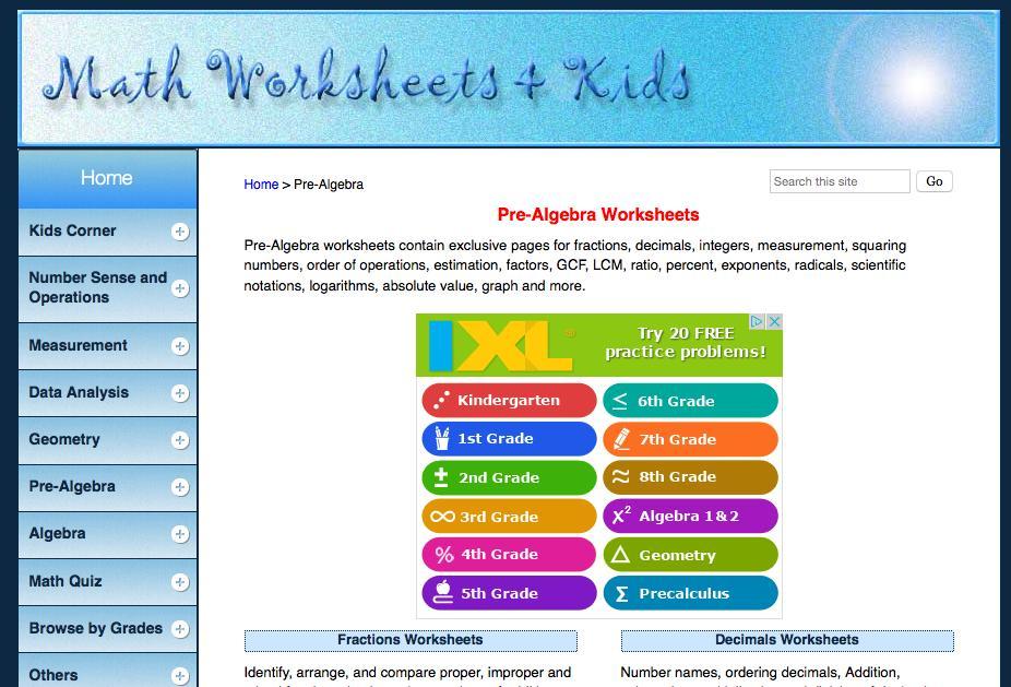 Algebra Worksheets Math Aids 6